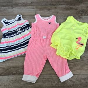 Set of Carter's Rompers and Dress 6M